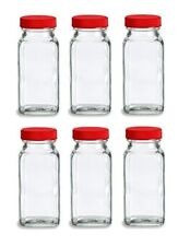 Nakpunar 6 pcs 4 oz Glass Spice Jars with Shaker and Red Lid - French Square