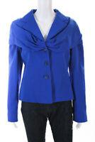 Emanuel Ungaro Womens Silk Three Button Blazer Blue Size EUR 40