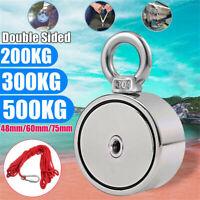 200/300/500KG Strong Round Neodymium Metal Magnet Detector Fishing Kit+10M Rope