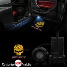 2x Car Corvette Racing Logo Door Welcome LED Laser Projector Ghost Shadow Light