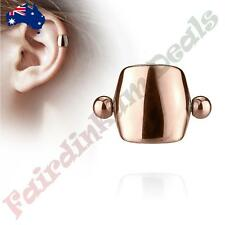 Plain Rose Gold IP Shield Helix/Cartilage Ear Cuff 316L Surgical Steel Barbell