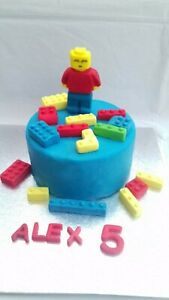 Legoman 3D figure +10 lego bricks Personalised Edible Cake Topper