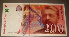 200 Deux Cents Francs france banknote bill 1999 gustave eiffel unfolded