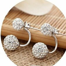 Wedding Prom 925 Sterling Silver Crystal 12mm Shamballa Double Stud Earrings