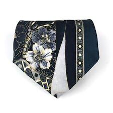 Vintage x'Andrini Tie Teal 100% Silk From Italy Elegant Floral Geometric Necktie