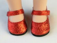 """Red Glitter Sparkle Mary Jane Shoes For 14.5"""" Wellie Wishers American Girl Doll"""