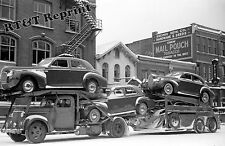 Photograph Vintage Auto Transport Carying New Buicks in Chillicothe Ohio 1940