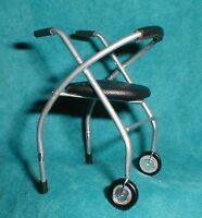 Doll miniature handcrafted Medical wheeled walker metal 1/12th scale