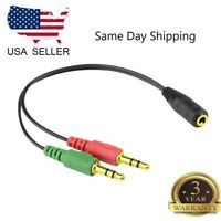 3.5mm Female to 2 Male Headphone Mic Y Splitter Cable Audio Stereo Adapter Gold