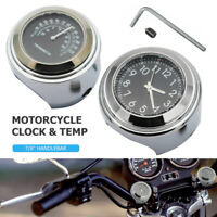 """2x Motorcycle Handlebar Dial Mount Clock and Thermometer Watch Dial for 7/8"""" 1"""""""