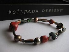 Silpada Red Coral Pearl Abalone Shell Stretch Bracelet - Excellent Condition