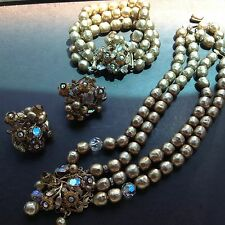 Eugene signed  vintage 50s set with clip on earrings bracelet and necklace