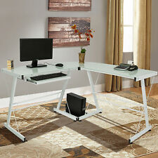 L-Shape Computer Desk PC Glass Laptop Table Workstation Corner Home Office White
