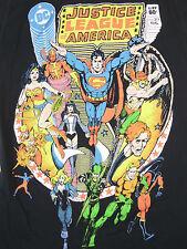 Juniors S JUSTICE LEAGUE OF AMERICA 217 Cover Black T-Shirt DC George Perez art