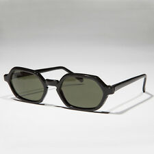 Hexagon Vintage Sunglass Black Frame Green Lens- Frisco