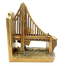 """Golden Gate Bridge Bookend, Historical Wonders 7"""" Wide, resin cast painted gold"""