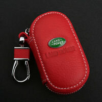 Red Cowhide leather Car Key Holder Keychain Ring Case Bag Fit For Land rover