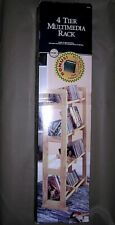 """2 Multimedia Storage Rack 4 Tier Trend Basics 37""""(H) Lacquer Finish Natural Wood"""