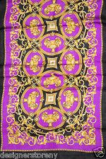 "Versace Purple/Black/Gold Print Silk Shawl Scarf SCN3CFA9056 0004 25 x 80"""