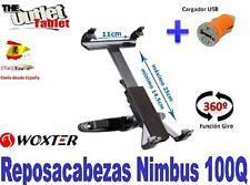 """SOPORTE REPOSACABEZAS PARA TABLET WOXTER NIMBUS 100Q 10.1"""" + CARGADOR USB"""