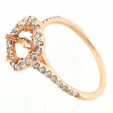 Solid 14k Rose Gold Semi Mount Diamond Halo Ring Setting  0.67 Cts - Cushion Cut