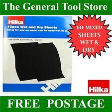 HILKA WET AND DRY SHEETS FOR METAL. PACK OF 10 SANDING SHEETS COARSE MED & FINE