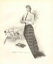 Victorian Lady, Jack Russell Terrier, Clarence Underwood, 1909 Antique Art Print