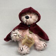 Hermann Teddy Original Miniature Pink Mohair Bear with Lamp - 7.5cm