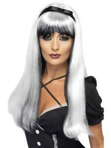 LADIES Halloween Long Silver White Black Witch WIG Fancy Dress Costume