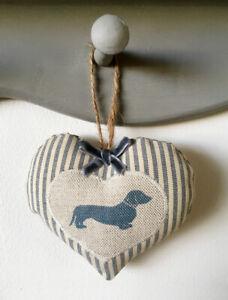Emily Bond padded fabric heart door hanger - beige linen blue Dachshund dog