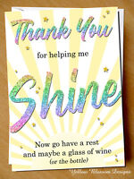 Teacher Thank You Card Funny Wine Shine Teaching Assistant Nursery Childminder
