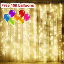 9.8ft 300 LED Curtain String light Fairy Light Wedding Christmas warm White