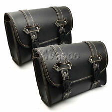 2x PU Leather Saddle Luggage Bag For Honda Shadow Spirit Aero Ace VT 750 1100