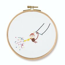 "DMC Printed Embroidery Kit ""Trumpet! Monkey"" with hoop"