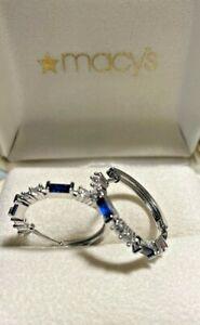 Platinum  Blue & White Sapphire Hoop Earrings