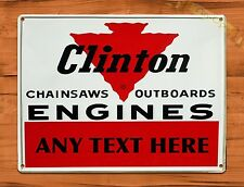 "TIN-UPS TIN SIGN ""Clinton OutBoard CUSTOM"" 12"" X 16"" Repair Sales Wall Decor"