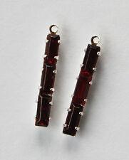 VINTAGE 2 GARNET RED GLASS BAGUETTE PENDANT BEAD STERLING PLATED SETTING 22x3mm