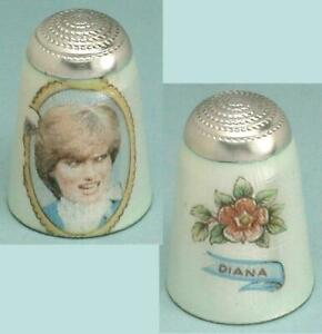 Vintage Enameled Diana Sterling Silver Thimble * English * Hallmarked 1998
