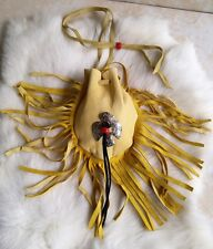 Native American Medicine Bag Leather Pouch Thunder Bird Pendant Beads Cherokee