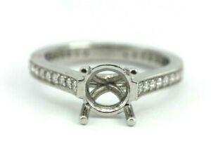 PLATINUM DIAMOND 7 MM ROUND SEMI MOUNT ENGAGEMENT RING 0.36 CTW 5.75 BAND NEW