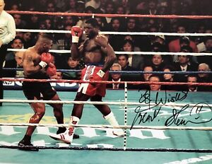Frank Bruno Signed Colour Photograph v Mike Tyson World Championship Fight