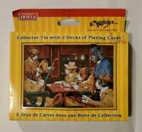 Vintage HOYLE Dogs Playing Poker Collector Tin 2 Decks Playing Cards 1998