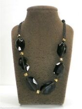 Fossil Beaded Leather Bird Charm Necklace Dark Brown Goldtone New! NWT