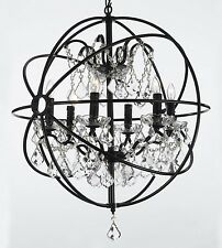 Foucault's Orb Wrought Iron and Crystal 6 Light Chandelier Lighting