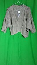 Maglia Sweater Open Cardigan Sz XL Gray 3/4 Sleeve