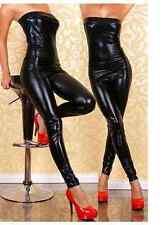 Black Low cut bodysuit, catsuit clubwear, PVC wet look 50 Shades fits 8/10/12...