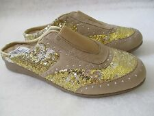 JOAN BOYCE GOLD & SILVER SEQUIN SLIDES SHOES SIZE 8 M - NEW