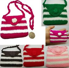 SMALL CROCHET PULL STRING BAG PURSE CHILDRENS