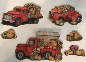 'Double Set' Fall Trucks - Set Of 6 Iron On Fabric Appliques
