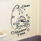 Shower Time Removable WALL Sticker Kids Room Bathroom Screen Toilet Window